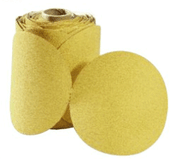 "Premium Gold Sterated Discs - PSA - 5"" x No Dust Holes - Disc Rolls, Grit/ Weight: 180C, Mercer Abrasives 545180 (100/Pkg.)"