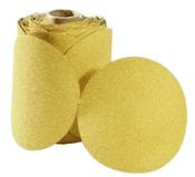 "Premium Gold Sterated Discs - PSA - 6"" x No Dust Holes - Disc Rolls, Grit/ Weight: 120C, Mercer Abrasives 546120 (100/Pkg.)"
