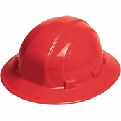 ERB Safety Omega ll Full Brim Hat Style with Mega Ratchet: Red, 6-Point Nylon Suspension With Ratchet Adjustment Safety Hat (12/Pkg.)