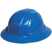 ERB Safety Omega ll Full Brim Hat Style with Mega Ratchet: Blue, 6-Point Nylon Suspension With Ratchet Adjustment Safety Hat (12/Pkg.)