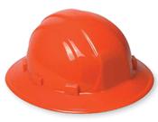 ERB Safety Omega ll Full Brim Hat Style with Mega Ratchet: Hi-Viz Orange, 6-Point Nylon Suspension With Ratchet Adjustment Safety Hat (12/Pkg.)