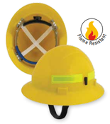 ERB Safety Americana Wildlands Full Brim Hat Style with Mega Ratchet: Yellow,4-Point Nylon Suspension With Ratchet Adjustment Safety Hat (1/Pkg.)
