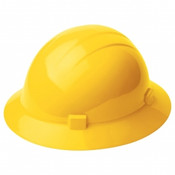 ERB Safety Americana Heat Full Brim Hat Style with Mega Ratchet:  Yellow, 4-Point Nylon Suspension With Ratchet Adjustment Safety Hat (12/Pkg.)