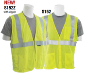 Large S152Z Lime ANSI Class 2 Vest Flame Resistant Modacrylic/Aramid Blend Mesh Hi-Viz Lime - Zipper