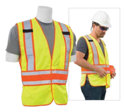 Lime S156  ANSI Class 2 Vest Tricot & Mesh Hi-Viz Lime - Hook & Loop.  One size Fits Most