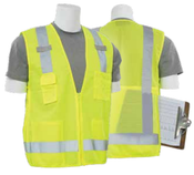 2X-Large S205 Lime ANSI Class 2 Tricot & Mesh Surveyor's Vest w/Clipboard Pouch Hi-Viz Lime - Zipper