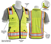 2X-Large S252C Lime ANSI Class 2 Mesh Surveyor's Vest 15 Pockets, padded neck, mic tabs both sides.  Hi-Viz Lime - Zipper