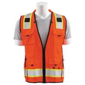 2X-Large S252C Orange ANSI Class 2 Mesh Surveyor's Vest 15 Pockets, padded neck, mic tabs both sides.  Hi-Viz Orange - Zipper