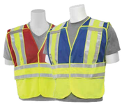 2X-5XL S340 Blue ANSI 207 PSV Break-Away Vest Blue Mesh w/Contrasting Trim - Zipper