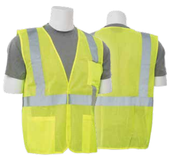 2X-Large S362P Lime ANSI Class 2 Vest Mesh Economy Hi-Viz Lime w/Pockets - Hook & Loop
