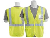 2X-Large S363ID Lime ANSI Class 2 Vest Mesh Economy ID Pocket Hi-Viz Lime - Zipper