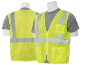 2X-Large S363P Lime ANSI Class 2 Vest Mesh Economy Hi-Viz Lime w/Pockets  - Zipper