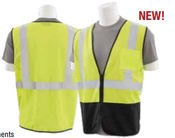 2X-Large S363PB Lime ANSI Class 2 Vest Mesh Economy Hi-Viz Lime/Black w/Pockets  - Zipper