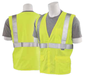Large S365 Lime ANSI Class 2 Vest Flame Resistant Knit Tricot Hi-Viz Lime - Hook & Loop