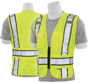 MD/LG S368 Lime ANSI 207 PSV Vest Knit Tricot Break-Away Hi-Viz Lime - Zipper Extended Tail