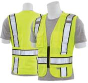 5X/6X S368 Lime ANSI 207 PSV Vest Knit Tricot Break-Away Hi-Viz Lime - Zipper Extended Tail