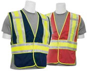 MD/LG S530 Red NON-ANSI Vest Red Mesh w/Contrasting Trim - Hook & Loop