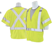 4X-Large S601X ANSI Class 3 Vest Tricot X-Back Hi-Viz Lime - Hook & Loop