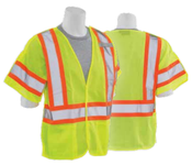 5X-Large S622 Lime ANSI Class 3 Mesh Break-Away Hi-Viz Lime - Hook & Loop