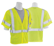 3X-Large S662 Lime ANSI Class 3 Vest Mesh Hi-Viz Lime - Hook & Loop