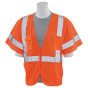 3X-Large S663P Orange ANSI Class 3 Vest Mesh Hi-Viz Orange - Zipper