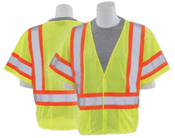 4X-Large S682P Lime ANSI Class 3 Vest Mesh Hi-Viz Lime w/Contrasting Trim - Hook & Loop