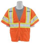 4X-Large S683P Orange ANSI Class 3 Vest Mesh Hi-Viz Orange - Zipper