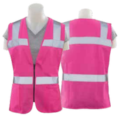 5X-Large S721 Pink Non-ANSI Tricot Women's Fitted Vest Pink - Zipper