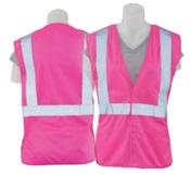 Large S725 Hi-Viz Pink Non-ANSI Tricot Women's Break-Away Vest Hi-Viz Pink - Hook & Loop