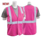 Large S762P Hi Viz Pink  Non-ANSI Unisex Vest Tricot Hi-Viz Pink - Hook/Loop
