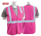 5X-Large S762P Hi Viz Pink  Non-ANSI Unisex Vest Tricot Hi-Viz Pink - Hook/Loop