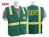 Large S813 Green Non-ANSI Unisex Vest Tricot Green w/ CERT logo front and back - Zipper