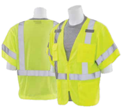 4X-Large S852 Lime ANSI Class 3 Vest Oxford Front / Mesh Back Hi-Viz Lime - Zipper