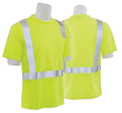 9006S Lime Large ANSI Class 2 T-Shirt w/Reflective Tape Birdseye Knit Mesh Hi-Viz Lime
