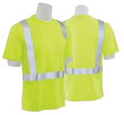 9006S Lime 4X-Large ANSI Class 2 T-Shirt w/Reflective Tape Birdseye Knit Mesh Hi-Viz Lime