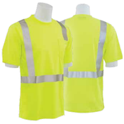 9006ST Lime Medium ANSI Class 2 T-Shirt w/Reflective Tape Birdseye Knit Mesh Hi-Viz Orange