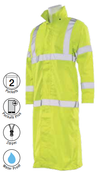 2X-Large S163 Lime ANSI Class 3 Long Rain Coat Hi-Viz Lime - Zipper