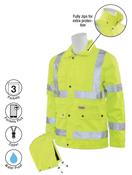 3X-Large S371 Lime ANSI Class 3 Raincoat Oxford PU Coating 8.6mm Hi-Viz Lime - Zipper