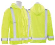 3X/4X S373 Orange ANSI Class 3 Lightweight Oversized Raincoat Oxford PU Coating Hi-Viz Orange - Snap