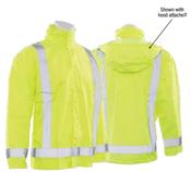 3X/4X S373D Lime ANSI Class 3 Lightweight Oversized Raincoat Oxford PU Coating w/Detachable Hood Hi-Viz Lime - Snap