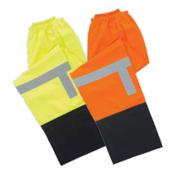4X-Large S373PTB Orange  ANSI Class E Lightweight Rain Pants Oxford PU Coating Hi-Viz Orange