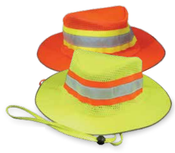 Hi-Viz Lime ANSI 107-Class Headwear Boonie Hat Woven Oxford PU Coating Mesh Venting -One Size Fits Most