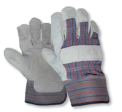 Gray/Blue Leather Palm, Canvas Back Gloves, LARGE (12/Pairs)