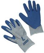 Blue Latex Coated String Crinkle Finish Gloves,  LARGE (12/Pairs)