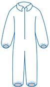 Large PC 125 White - Zipper Front, Elastic Wrist & Ankles, Bulk packed (25/Pkg)