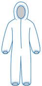 2X PC 127 White - Zipper Front, Elastic Wrist & Ankles, Hooded, Bulk packed (25/Pkg)