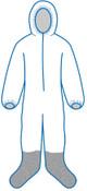 4XL P261 White - Zipper Front, Elastic Wrist & Ankles, Boot & Hood, Bulk packed (25/Pkg)