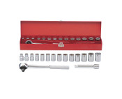 "16pc 1/2"" Ratchet Socket Box Set SAE - Chrome, Martin #MS16K"