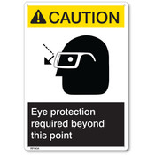 "ANSI Z535 Rigid Plastic ""Caution Eye Protection..."" Sign, 7"" x 10"""