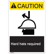 "ANSI Z535 Rigid Plastic ""Caution Hard Hat Required"" Sign, 7"" x 10"""